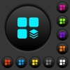 Multiple components dark push buttons with vivid color icons on dark grey background - Multiple components dark push buttons with color icons