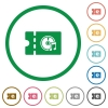 Music store discount coupon flat icons with outlines - Music store discount coupon flat color icons in round outlines on white background