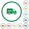 24 hour delivery truck flat icons with outlines - 24 hour delivery truck flat color icons in round outlines on white background