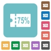 75 percent discount coupon rounded square flat icons - 75 percent discount coupon white flat icons on color rounded square backgrounds