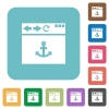 Browser anchor rounded square flat icons - Browser anchor white flat icons on color rounded square backgrounds