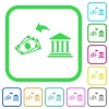 Cash withdrawal from bank vivid colored flat icons - Cash withdrawal from bank vivid colored flat icons in curved borders on white background
