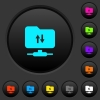 FTP data traffic dark push buttons with color icons - FTP data traffic dark push buttons with vivid color icons on dark grey background