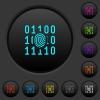 Digital fingerprint dark push buttons with color icons - Digital fingerprint dark push buttons with vivid color icons on dark grey background