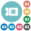 Postal discount coupon flat round icons - Postal discount coupon flat white icons on round color backgrounds