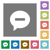 Delete comment square flat icons - Delete comment flat icons on simple color square backgrounds