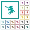 Hand truck with boxes flat color icons with quadrant frames - Hand truck with boxes flat color icons with quadrant frames on white background