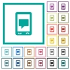 Mobile chat flat color icons with quadrant frames on white background - Mobile chat flat color icons with quadrant frames