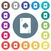 Seven of spades card flat white icons on round color backgrounds - Seven of spades card flat white icons on round color backgrounds. 17 background color variations are included.
