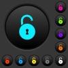 Unlocked round padlock with keyhole dark push buttons with color icons - Unlocked round padlock with keyhole dark push buttons with vivid color icons on dark grey background