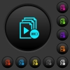 Processing playlist dark push buttons with vivid color icons on dark grey background - Processing playlist dark push buttons with color icons