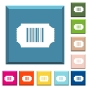 Ticket with barcode white icons on edged square buttons - Ticket with barcode white icons on edged square buttons in various trendy colors