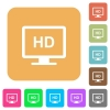 HD display flat icons on rounded square vivid color backgrounds. - HD display rounded square flat icons