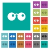 Sunglasses square flat multi colored icons - Sunglasses multi colored flat icons on plain square backgrounds. Included white and darker icon variations for hover or active effects.