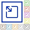 Resize object flat framed icons - Resize object flat color icons in square frames on white background