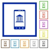 Mobile banking flat framed icons - Mobile banking flat color icons in square frames on white background