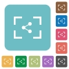 Camera share image rounded square flat icons - Camera share image white flat icons on color rounded square backgrounds