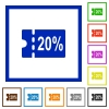 20 percent discount coupon flat framed icons - 20 percent discount coupon flat color icons in square frames on white background