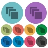 Multiple canvases color darker flat icons - Multiple canvases darker flat icons on color round background