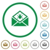Open mail with malware symbol flat icons with outlines - Open mail with malware symbol flat color icons in round outlines on white background