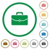 Satchel with one buckle flat icons with outlines - Satchel with one buckle flat color icons in round outlines on white background