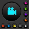 Video camera dark push buttons with color icons - Video camera dark push buttons with vivid color icons on dark grey background