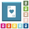 Ten of hearts card white icons on edged square buttons - Ten of hearts card white icons on edged square buttons in various trendy colors