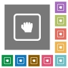 Grab object square flat icons - Grab object flat icons on simple color square backgrounds
