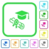 Graduation ceremony vivid colored flat icons - Graduation ceremony vivid colored flat icons in curved borders on white background