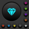 Diamond dark push buttons with color icons - Diamond dark push buttons with vivid color icons on dark grey background
