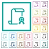 Scroll with certificate on right flat color icons with quadrant frames - Scroll with certificate on right flat color icons with quadrant frames on white background