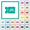 Bicycle shop discount coupon flat color icons with quadrant frames - Bicycle shop discount coupon flat color icons with quadrant frames on white background