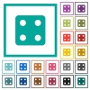 Dice four flat color icons with quadrant frames - Dice four flat color icons with quadrant frames on white background