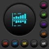 Network statistics dark push buttons with color icons - Network statistics dark push buttons with vivid color icons on dark grey background