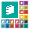 Single book multi colored flat icons on plain square backgrounds. Included white and darker icon variations for hover or active effects. - Single book square flat multi colored icons