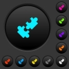 Cooperation dark push buttons with vivid color icons on dark grey background - Cooperation dark push buttons with color icons