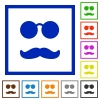 Glasses and mustache flat framed icons - Glasses and mustache flat color icons in square frames on white background