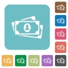 More banknotes with portrait rounded square flat icons - More banknotes with portrait white flat icons on color rounded square backgrounds