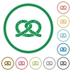 Salted pretzel flat icons with outlines - Salted pretzel flat color icons in round outlines on white background