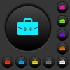 Satchel with two buckles dark push buttons with color icons - Satchel with two buckles dark push buttons with vivid color icons on dark grey background