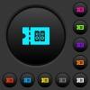 Hi-fi shop discount coupon dark push buttons with color icons - Hi-fi shop discount coupon dark push buttons with vivid color icons on dark grey background