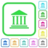 Bank office building vivid colored flat icons - Bank office building vivid colored flat icons in curved borders on white background