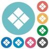 Diagonal tile pattern flat white icons on round color backgrounds - Diagonal tile pattern flat round icons