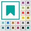 Bookmark flat color icons with quadrant frames - Bookmark flat color icons with quadrant frames on white background