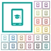Mobile learning flat color icons with quadrant frames - Mobile learning flat color icons with quadrant frames on white background