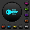64 bit rsa encryption dark push buttons with color icons - 64 bit rsa encryption dark push buttons with vivid color icons on dark grey background