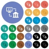 Open banking API round flat multi colored icons - Open banking API multi colored flat icons on round backgrounds. Included white, light and dark icon variations for hover and active status effects, and bonus shades.
