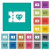 Jewelry store discount coupon square flat multi colored icons - Jewelry store discount coupon multi colored flat icons on plain square backgrounds. Included white and darker icon variations for hover or active effects.