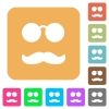 Glasses and mustache rounded square flat icons - Glasses and mustache flat icons on rounded square vivid color backgrounds.