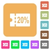 20 percent discount coupon rounded square flat icons - 20 percent discount coupon flat icons on rounded square vivid color backgrounds.